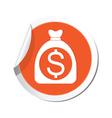 moneybag dollar icon orange label vector image