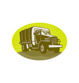 World war two military personnel carrier truck vector image