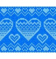 Blue knitted hearts seamless pattern vector image