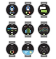 Circle smartwatch Applications on the screen vector image
