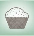 cupcake sign  brown flax icon on green vector image