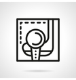 Golf ball and putter simple black line icon vector image