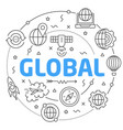 line flat circle global vector image