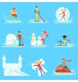 People Having Fun In Snow In Winter Collection Of vector image