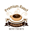 Premium roast coffe icon Cafe emblem vector image vector image