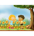 A girl stopping a boy from eating a mushroom vector image