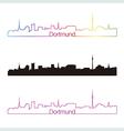 Dortmund skyline linear style with rainbow vector image