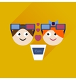 Flat web icon with long shadow couple at cinema vector image
