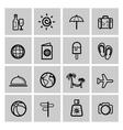 black vacation travel icon set vector image