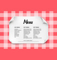 cafe or restaurant menu design with curved paper vector image