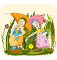 children play grass vector image