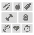 monochrome set with fitness icons vector image