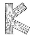 wooden letter k engraving vector image