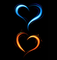 heart from red and blue fire vector image vector image