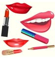 Set of smiling lips and lipstic vector image vector image