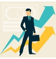 Businessman and growing statistics vector image vector image