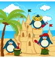 penguin built sand castle vector image