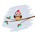 owl santa hat vector image