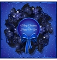 Dark blue Christmas wreath out of pine branches vector image