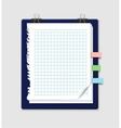 torn squared notepaper with bookmarks and vector image