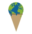 planet earth ice cream melting icon vector image