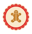 Christmas Winter Lacy Label Icon with Gingerbread vector image
