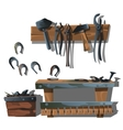 Workstation forge horseshoes and tools vector image