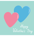 Pink and blue hearts Happy Valentines Day vector image