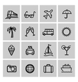 Tourism set icons vector image vector image