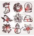 Christmas Sketch Collection Of Symbols vector image