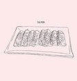 salmon sliced on a plate sketch vector image
