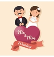 wedding card happy couple with heart mr mrs design vector image