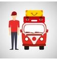 man red cap vintage van camper suitcases vector image