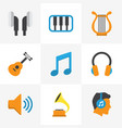 audio flat icons set collection of earpiece ear vector image