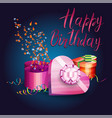 a gift boxes serpentine and inscription happy vector image