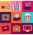 flat cinema icons vector image vector image