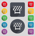 road barrier icon sign A set of 12 colored buttons vector image