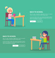 back to school set of posters with boy and girl vector image