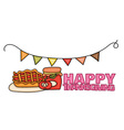 Happy Thanksgiving Day banner sign with a pie a vector image