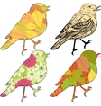 Set of birds with patch silhouettes vector image