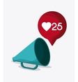 megaphone heart bubble social media icon vector image