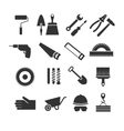 Construction tools black icons set vector image vector image