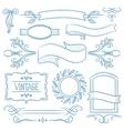 Set of vintage ribbons frames and elements vector image