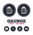 glass of beer sign icon alcohol drink symbol vector image