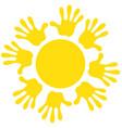 sun icon symbol family friendship joy warm vector image