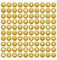 100 digital marketing icons set gold vector image vector image