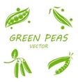 flat green peas icons set vector image