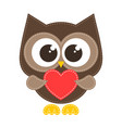 brown owl with red heart vector image