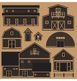 Buildings set with farm - monochrome vector image