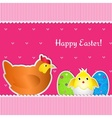 Easter card with chicken chick and two eggs vector image